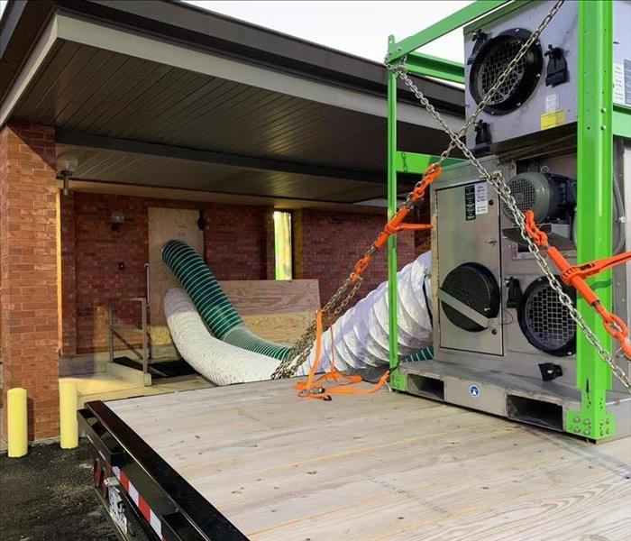 desiccant dehumidifer running to a commercial building