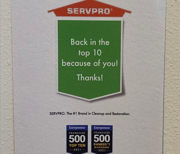 image from Entrepreneur Magazine Franchise 500 edition with SERVPRO highlighted as ranked in Top 10.